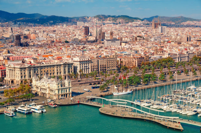 Barcelona skyline, Sagrada Familia is visible.